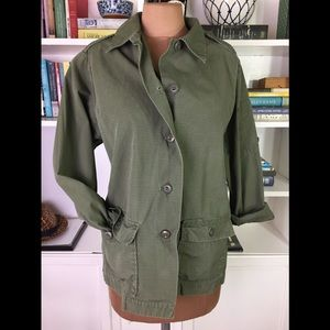Army Green Cotton Poplin Utility Button Down